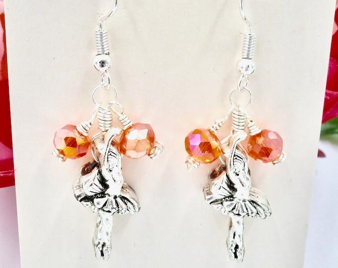 Silver and Orange Ballerina Earrings