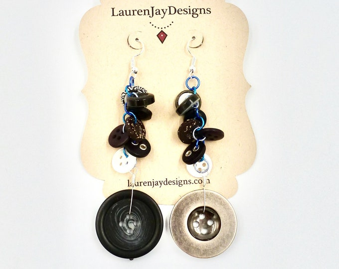 Silver and Black Button Dangle Earrings