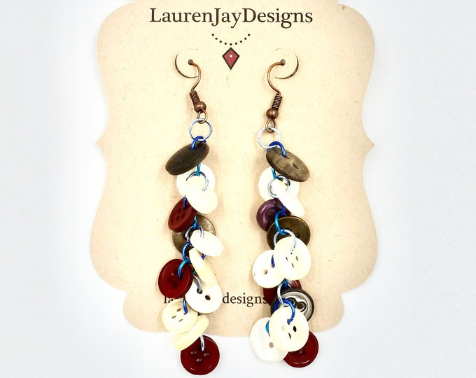 Red Button Dangle Earrings