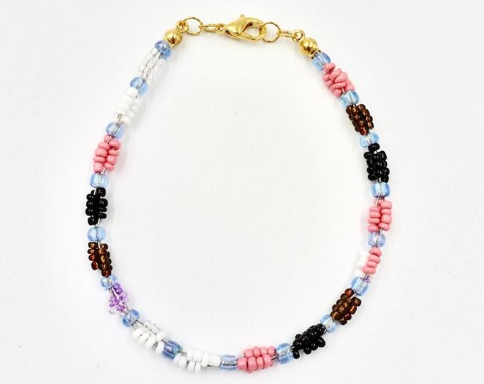 Beaded Bracelets, Colourful Bracelets, Pink Bracelets, Black Bracelets, Twist Bracelets, 3 Strand Bracelets, Birthday Gifts, Jewellery Gifts
