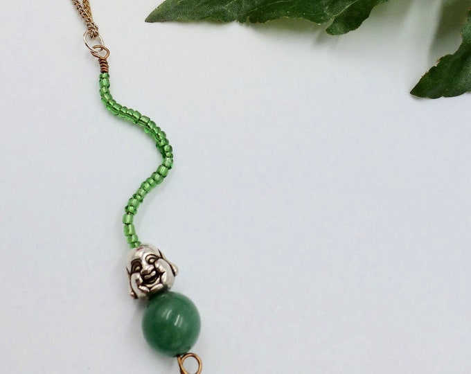 Green Buddha Gold Chain Necklace