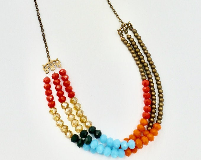 Chain Necklaces, 3 Strand Necklaces, Beaded Necklaces, Colourful Necklace, Blue Necklaces, Red Necklaces, Copper Necklace, Birthday Gifts