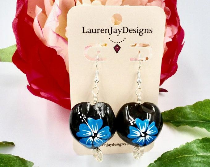 Blue Hawaiian Flower Dangle Earrings by Lauren Jay Designs