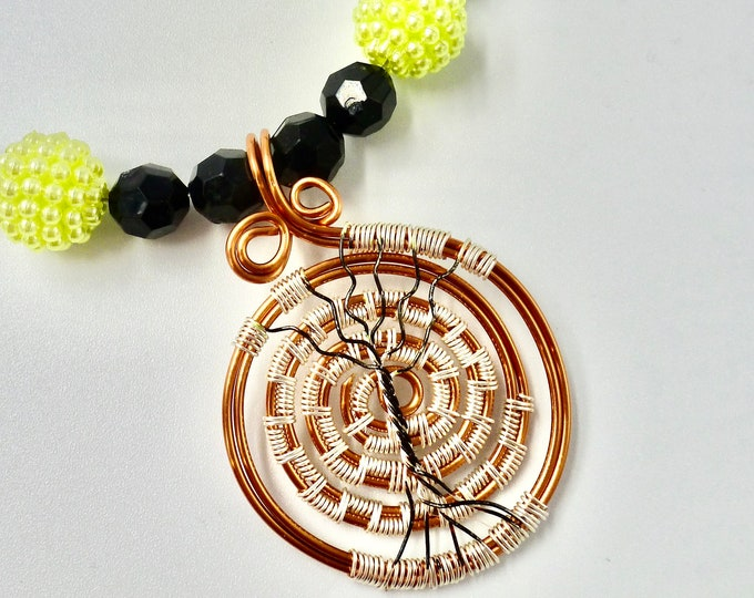 Tree of Life Wire Wrapped Pendant Beaded Necklace