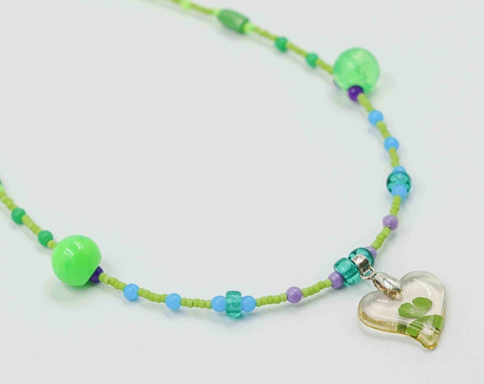 Four Leaf Clover Heart Pendant Green and Blue Beaded Necklace