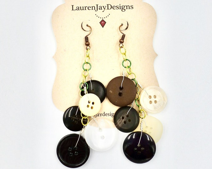Black and White Button Dangle Earrings