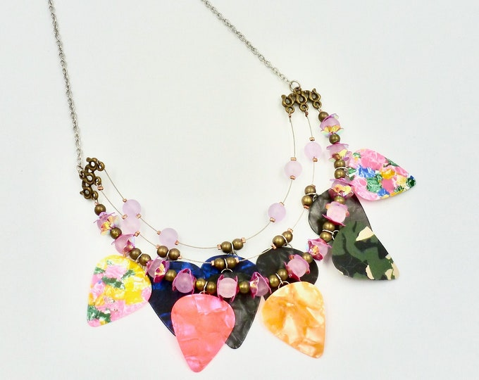 Colourful Rainbow Guitar Pick Chain Necklace by Lauren Jay Designs