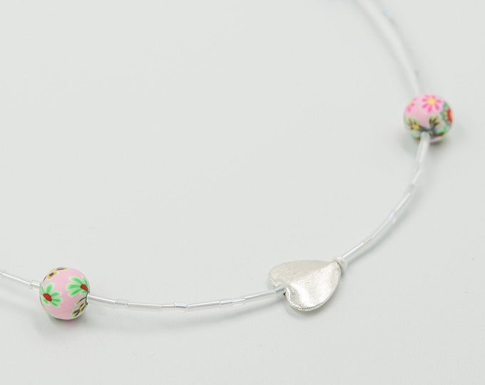 Silver Heart White Beaded Necklace