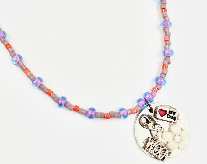 White Floral and Puppy Love Memory Pendant Beaded Necklace