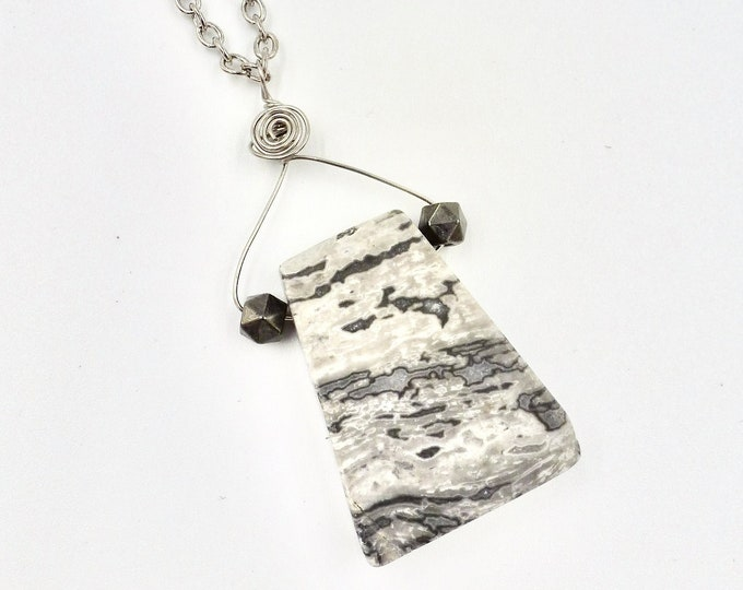 Grey Stone Pendant Chain Necklace by Lauren Jay Designs