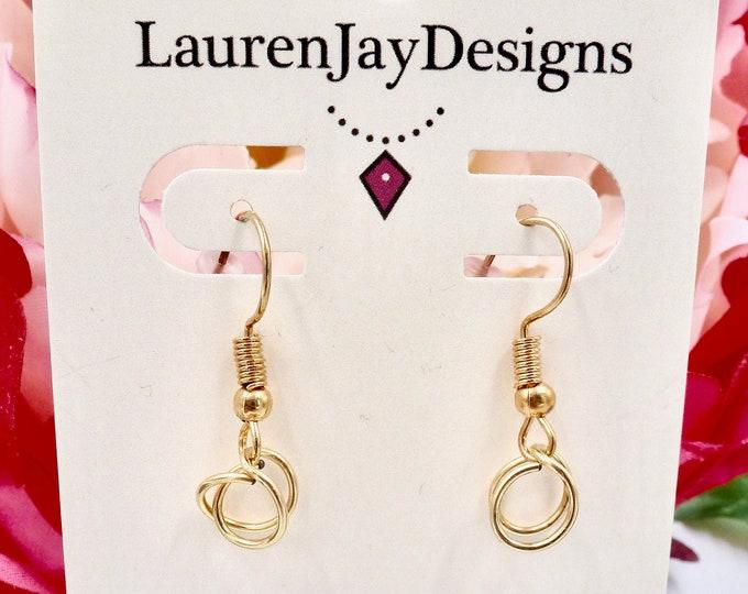Small Gold Hoop Dangle Earrings