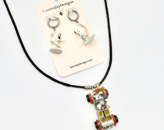 Space Jewellery Set, Astronaut Earrings, Space Earrings, Space Rover Necklace, Space Necklace, Outer Space Gifts, Birthday Gift, Planet Gift