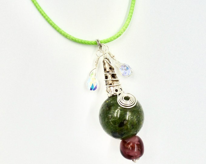 Cord Necklaces, Pendant Necklaces, Beaded Pendants, Green Necklaces, Purple Pendants, Jewellery Gifts, Birthday Gifts, Gifts, Gifts for Her