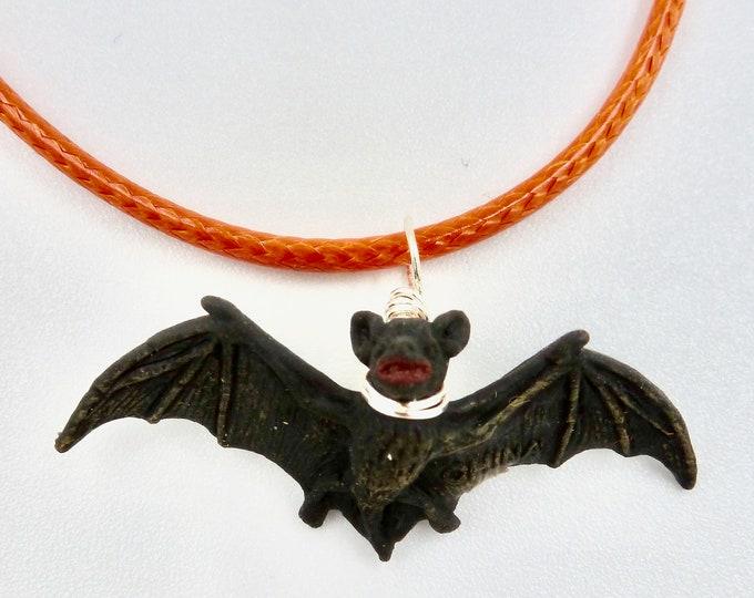 Black Bat Pendant Necklace