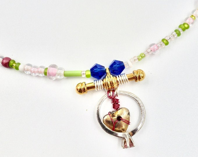 Pink Heart Ring Pendant Beaded Necklace