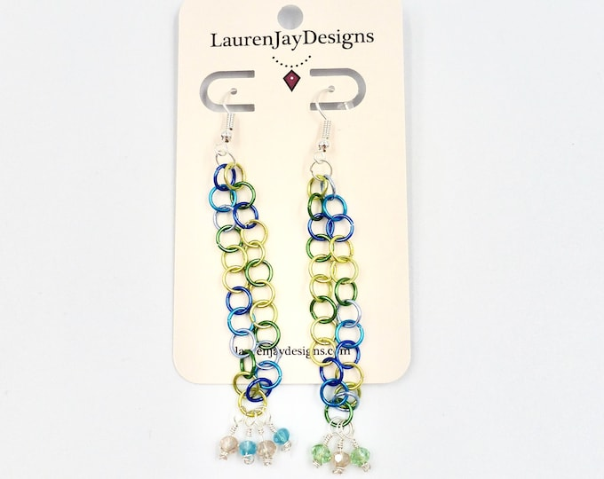 Colourful Chainmail Dangle Earrings
