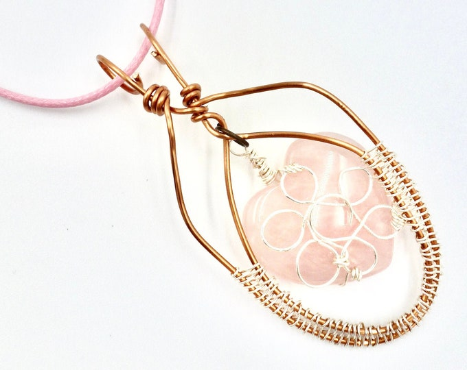 Pink Stone Heart Cord Necklace