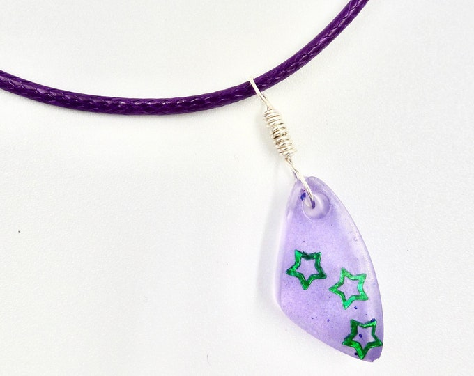 Purple Teardrop Resin Pendant Necklace