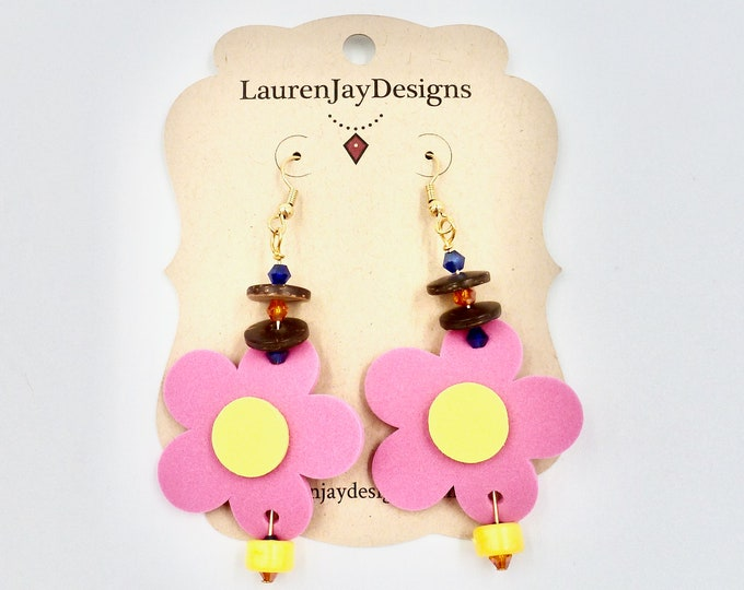 Pink Foam Flower Earrings