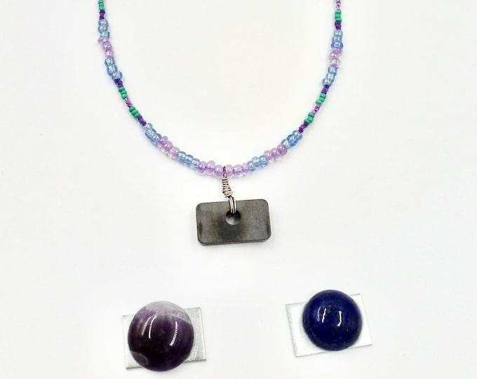 Gemstone Necklaces, Interchangeable Pendants, Beaded Necklaces, Pendant Necklaces, Purple Necklaces, Jewellery Gift, Birthday Gift, Fun Gift