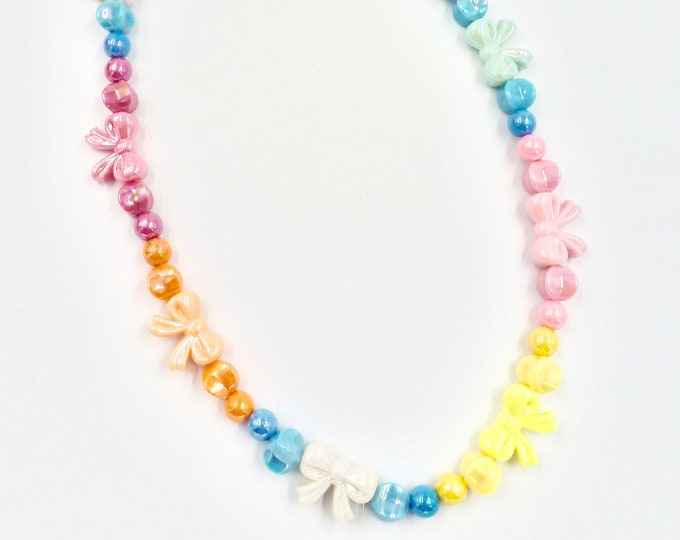 Pastel Bows Beaded Necklace