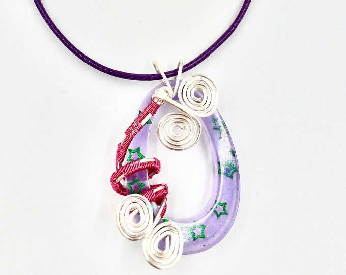 Wire Wrapped Purple Resin Pendant
