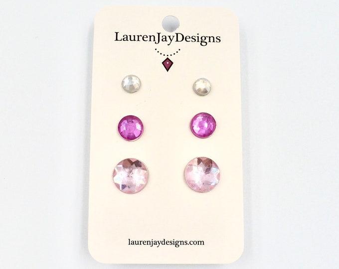 Silver and Pink Rhinestone Stud Earring Set