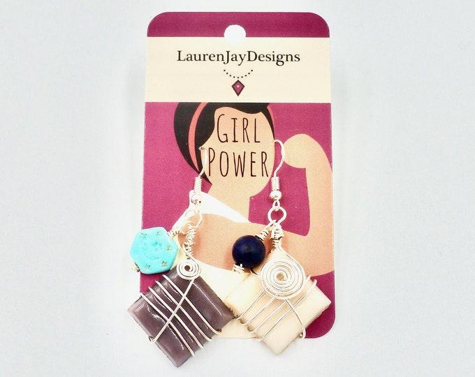 Dangle Earrings, Beaded Earrings, Tile Earrings, Colourful Earrings, Birthday Gifts, Moon Earrings, Wire Wrapped Earrings, Jewellery Gifts