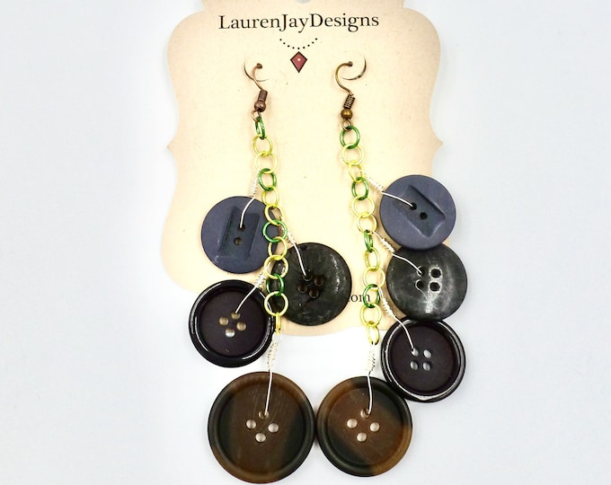 Green Chain Button Dangle Earrings