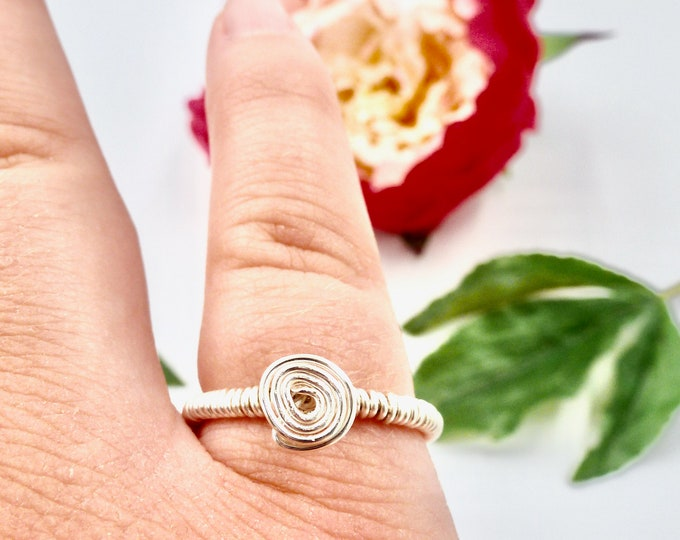 Rings, Silver Rings, Wire Wrapped Rings, Spiral Rings, Loop Rings, Birthday Gifts, Jewellery Gifts, Gifts for Her, Bridesmaid Gifts, Gifts