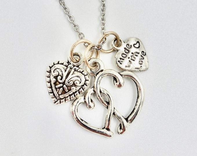 3 Heart Pendant Silver Chain Necklace