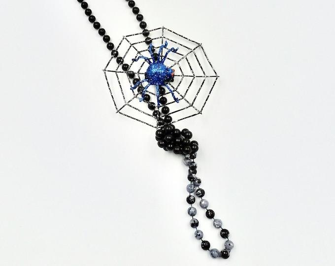 Halloween Spider Web Black Beaded Necklace by Lauren Jay Designs
