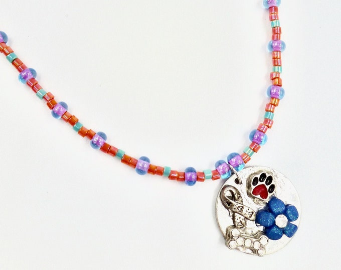 Floral and Puppy Love Memory Pendant Beaded Necklace