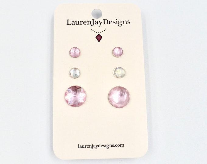 Light Pink and Silver Rhinestone Stud Earring Set