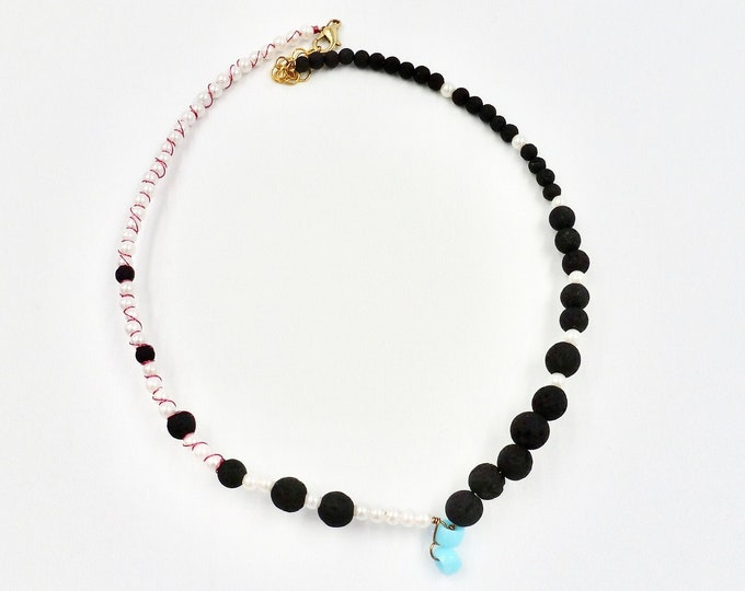 Lava Stone and Faux Pearl Beaded Necklace