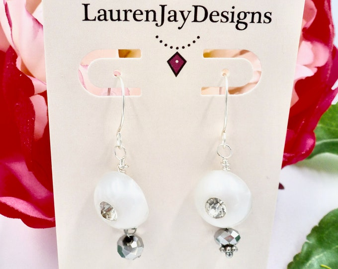 White and Chrome Small Dangle Earrings