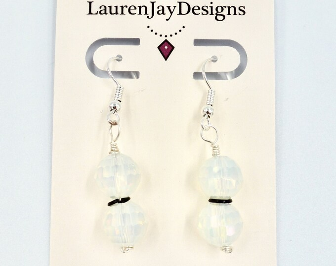 White and Black Sparkle Earrings