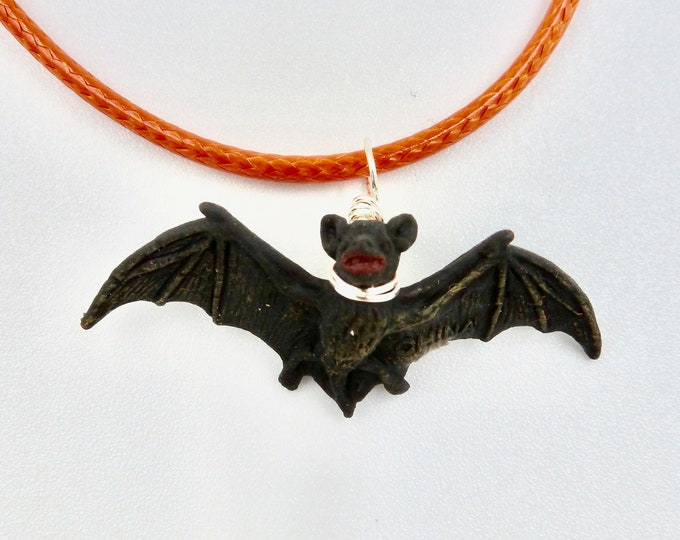 Black Bat Pendant Necklace
