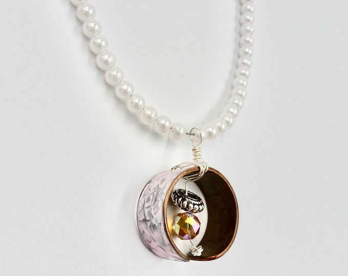 Pearl Beaded Ring Pendant Necklace