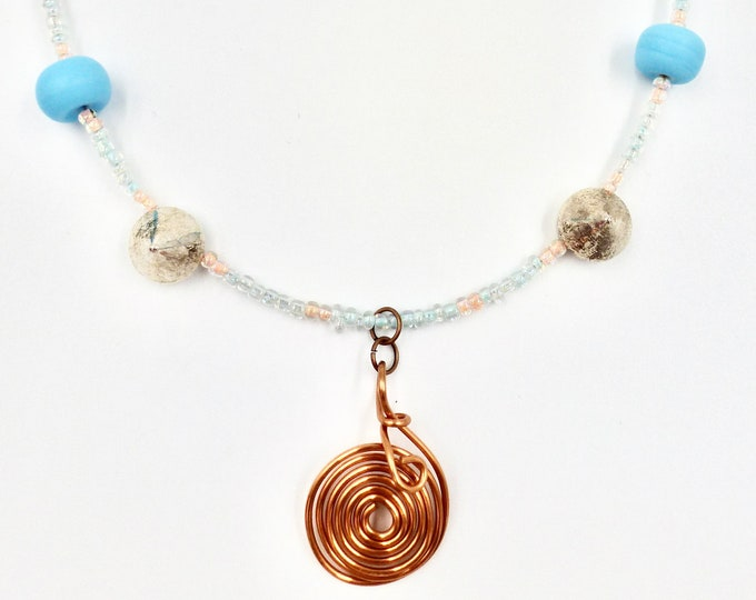 Small Copper Spiral Pendant Necklace