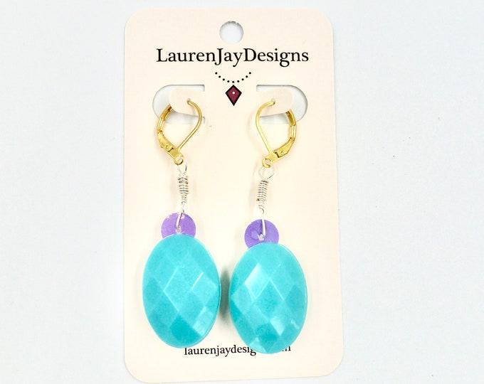 Blue and Purple Rhinestone Dangle Earrings
