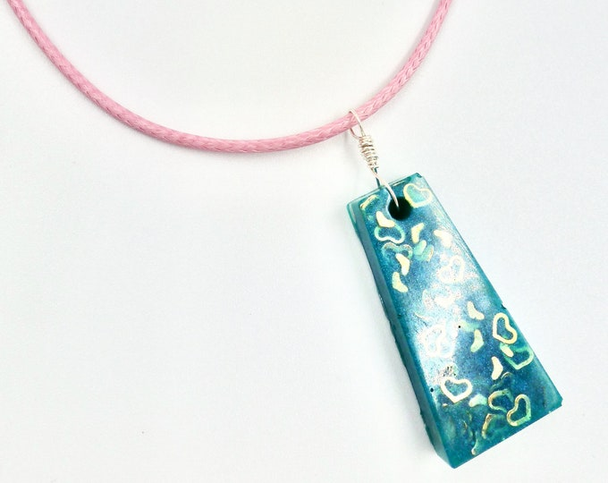 Teal Hearts Pendant Necklace