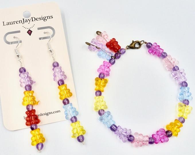 Rainbow Gummy Bear Bracelet and Earring Jewellery Set by Lauren Jay Designs