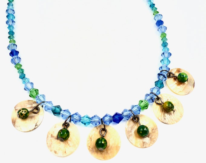 Beaded Necklaces, Shell Necklaces, Blue Necklaces, Beach Necklaces, Vacation Jewellery, Jewellery Gifts, Birthday Gifts, Gift, Gifts for Her