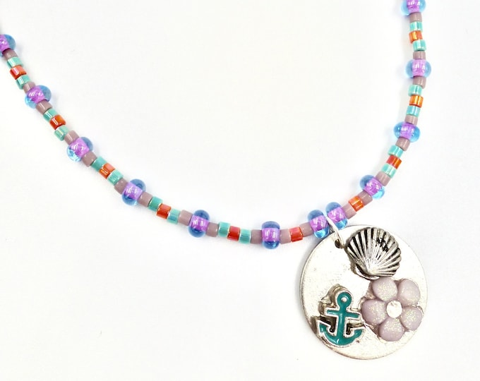 Floral Nautical Memory Pendant Beaded Necklace
