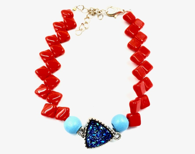 Blue and Red Crystal Beaded Bracelet