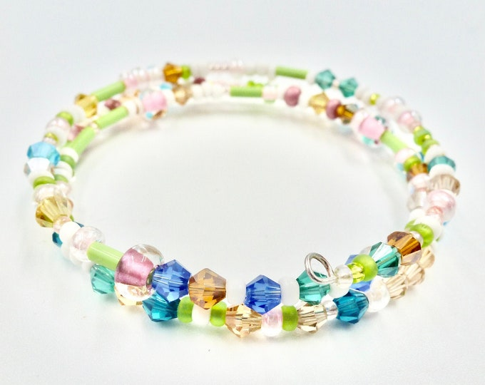 Colourful Memory Wire Beaded Bracelet