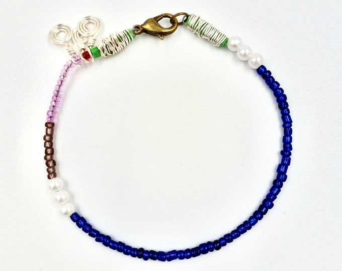 Blue, Pink and Brown Beaded Bracelet
