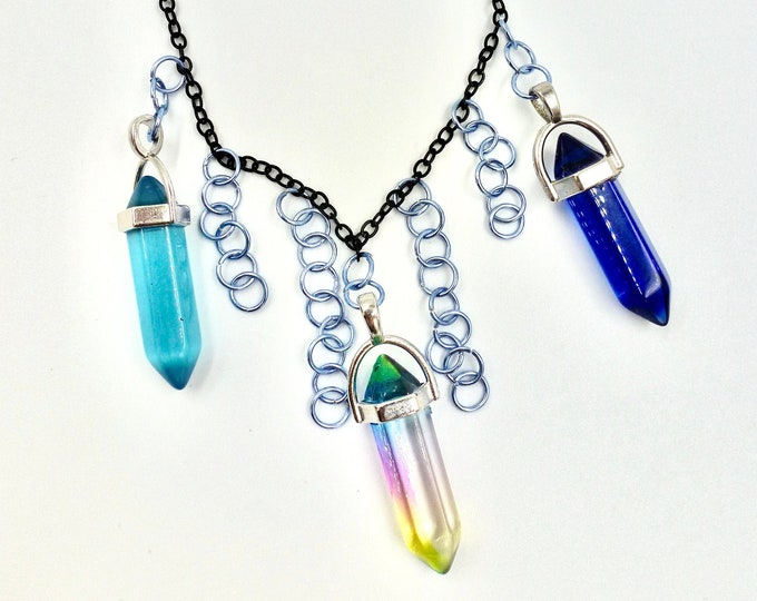 Blue Shaded Crystal Chain Necklace