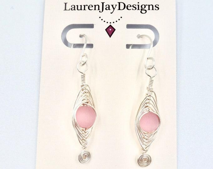 Pink Herringbone Spiral Dangle Earrings